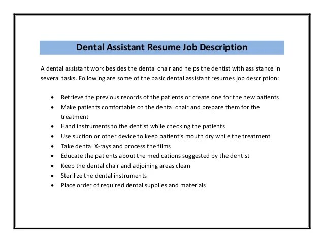 dentist job duties - Template