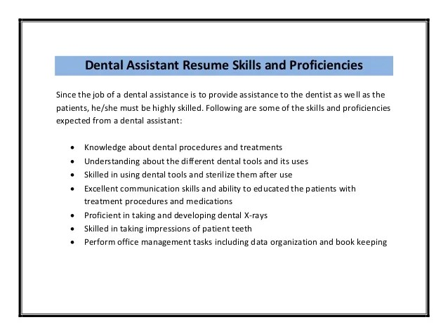 dental assistant resume skills examples - Towerssconstruction