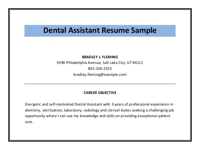dental assistant objective examples