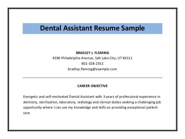 Dental Assistant Sample Resume Cvtips Dental Assistant Resume Sample Pdf