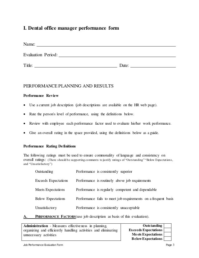 Employee Evaluation Form Performancereviews Dental Office Manager Performance Appraisal