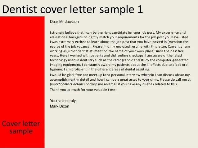 dentistry cover letter