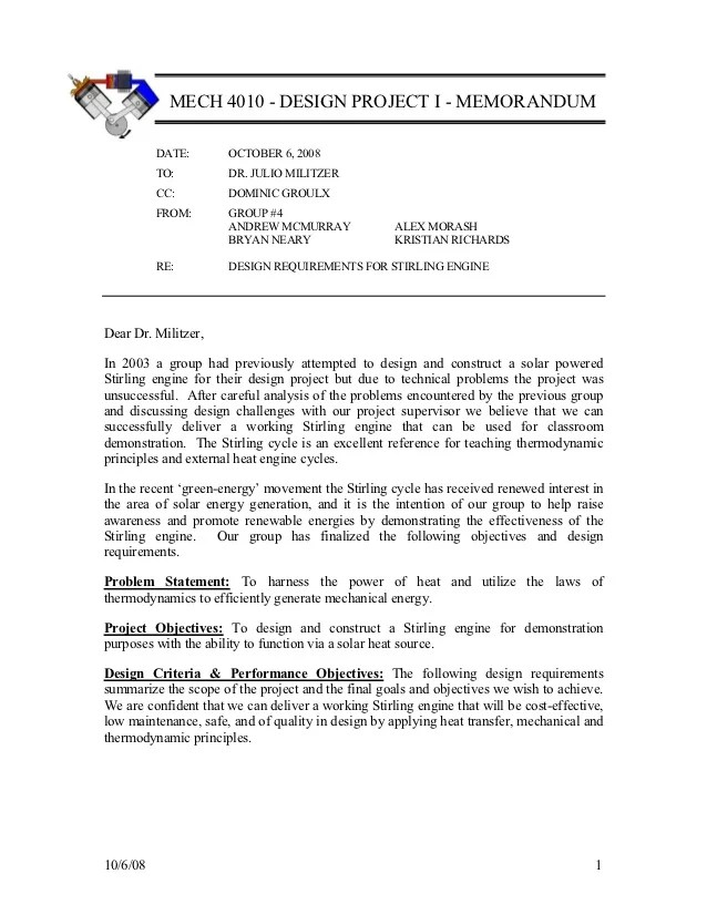 engineering memorandum format