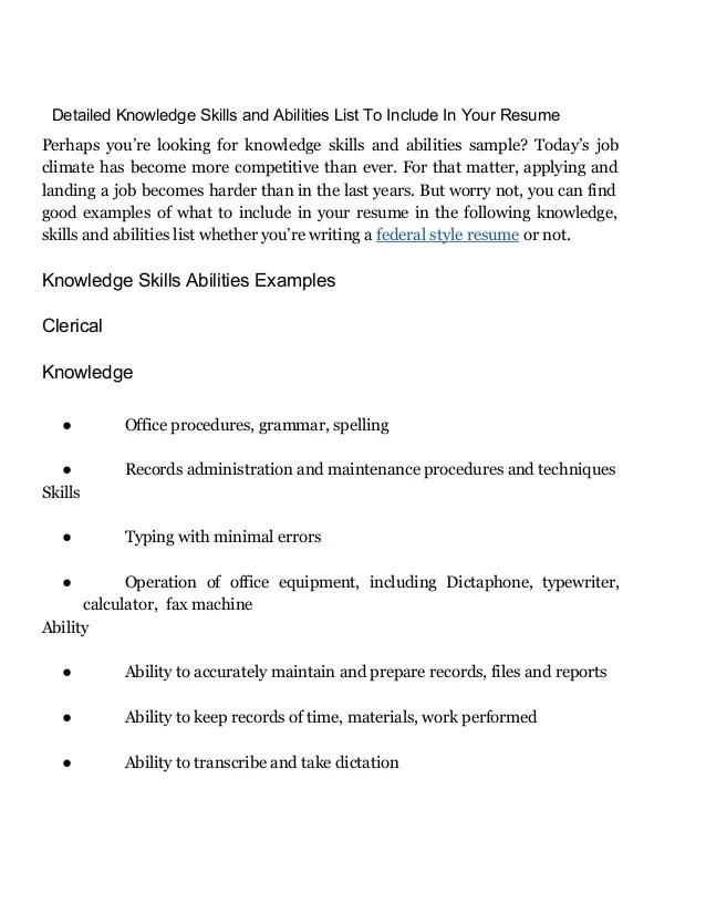 a list of skills and abilities - Alannoscrapleftbehind