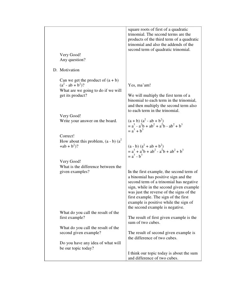 lesson plan polynomials