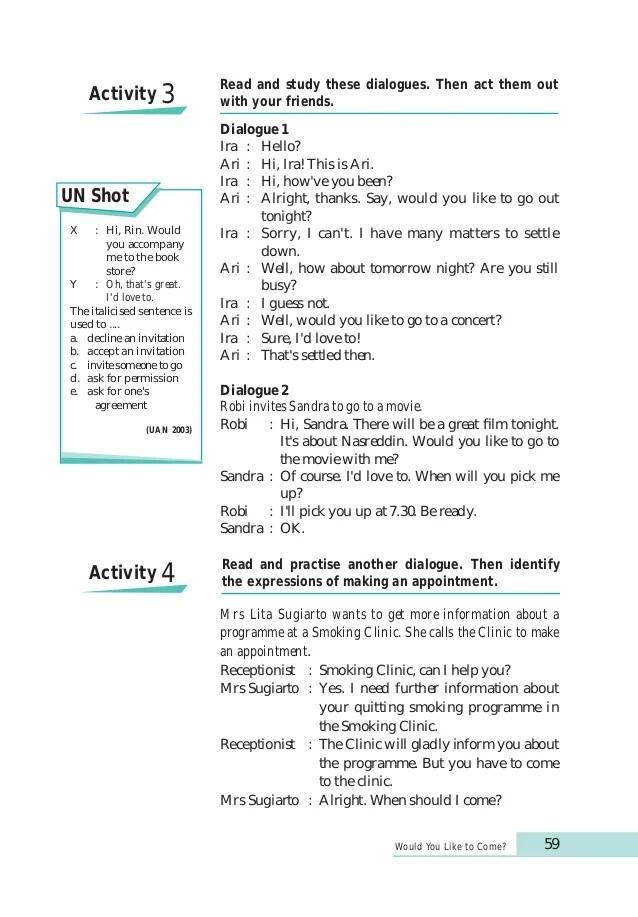 Declining invitation dialogue invitationswedd developing english competencies kelas 10 ahmad doddy ahmat sugeng eff accepting and declining invitations stopboris Choice Image