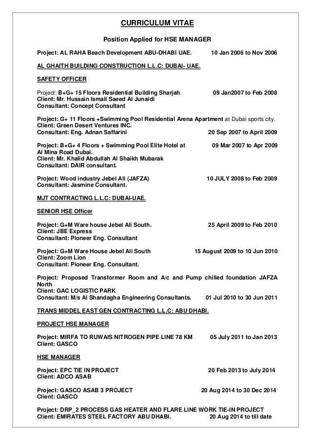 safety manager resume - Pinarkubkireklamowe