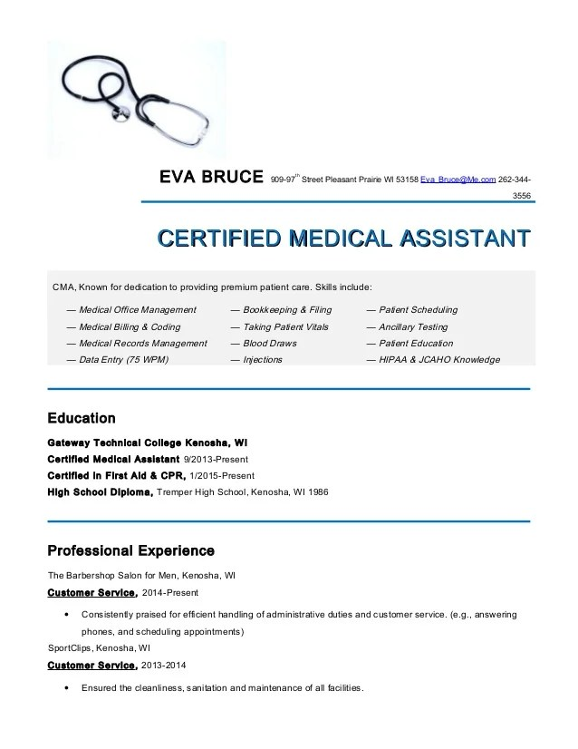 Medical Assistant Resume Examples Medical Assistant Resumeeva Bruce