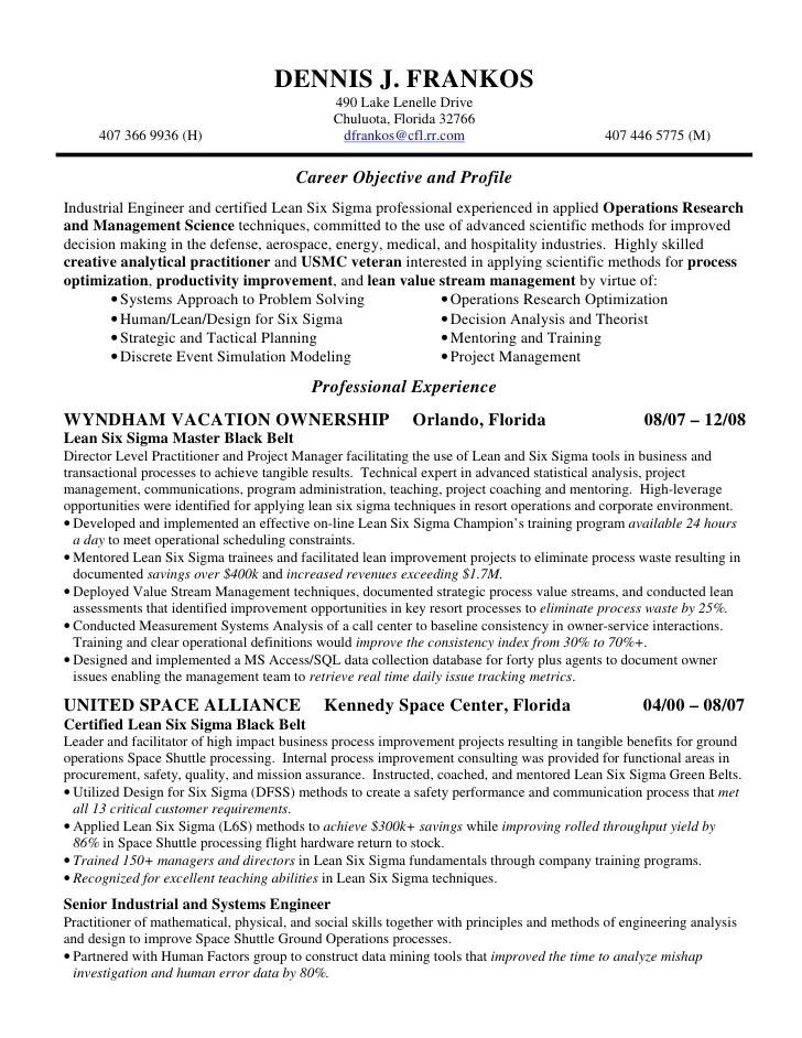 six sigma resume - Eczasolinf