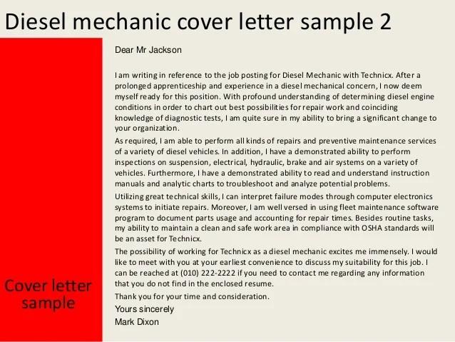 Sample Cover Letter For A Mechanic Livecareer Diesel Mechanic Cover Letter