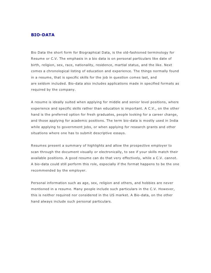 bio vs resume - Ozilalmanoof - resume biography sample