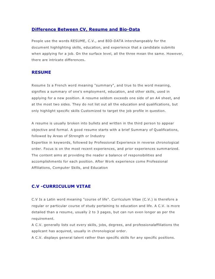 resume bio data curriculum vitae