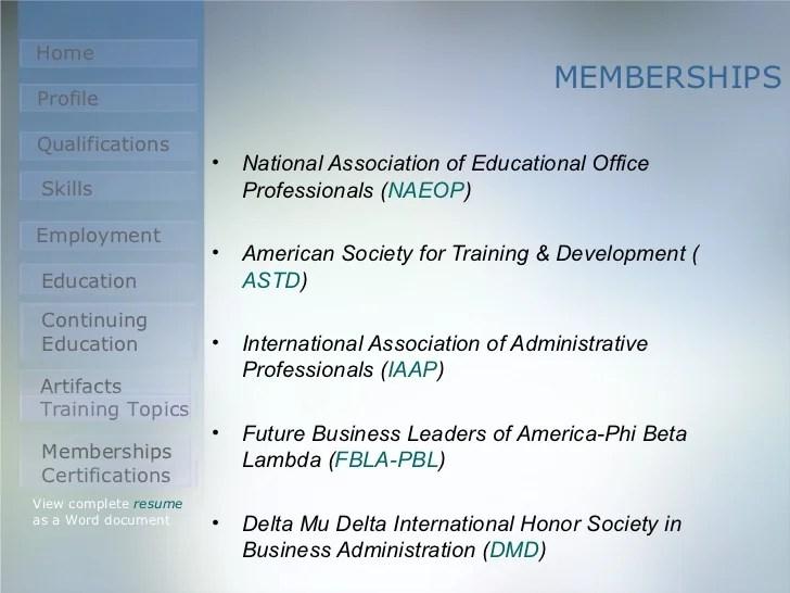 sample resume with national society memberships