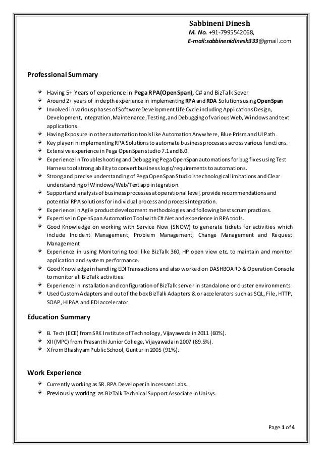 rpa sample resume