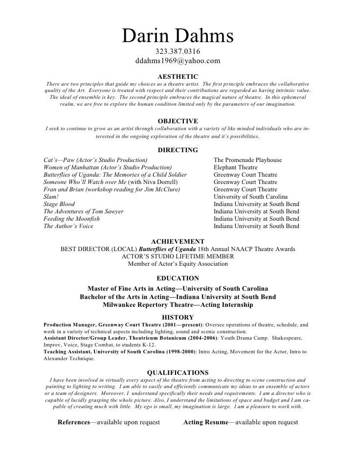 theatrical director resume - Jolivibramusic