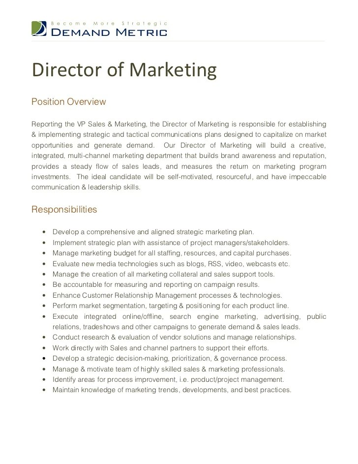Marketing Job Descriptions For Resume | Basic Employment