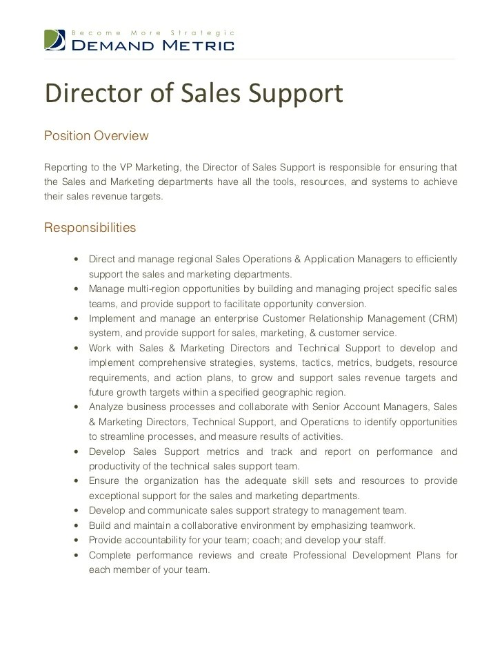 Sales Associate Resume Sample Sales Associate Job Director Of Sales Support Job Description