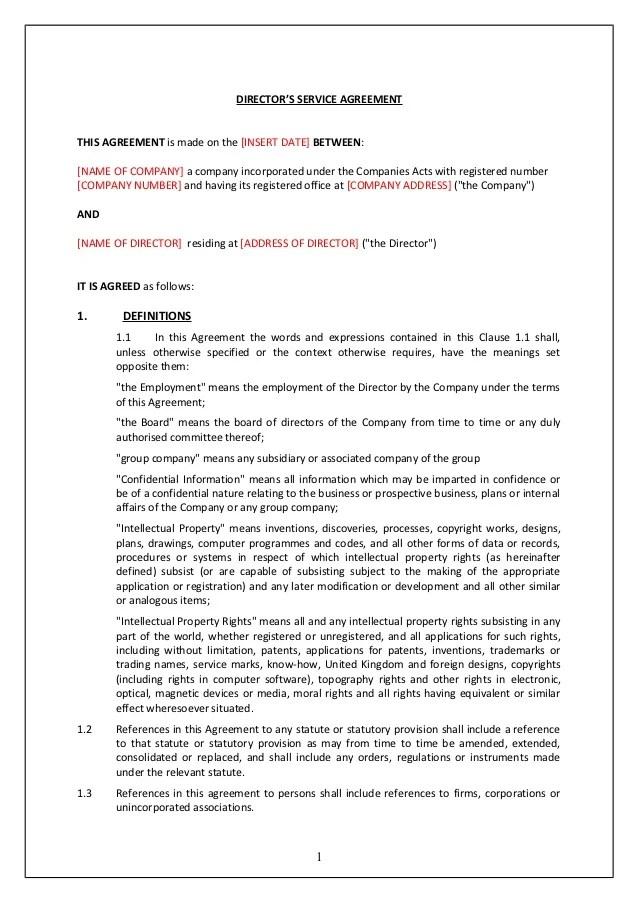 Directors service contract (tcw)