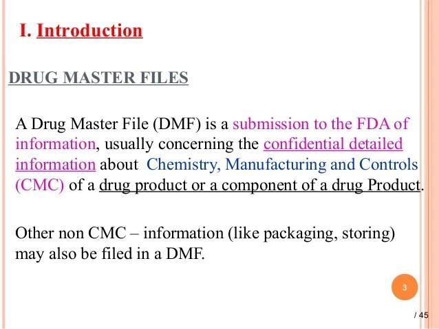 Dmf Drug Master File