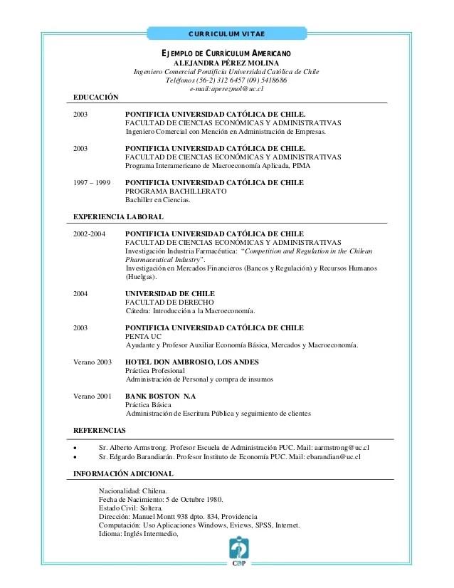 Ejemplo De Un Curriculum Vitae Americano Sample Resume Service