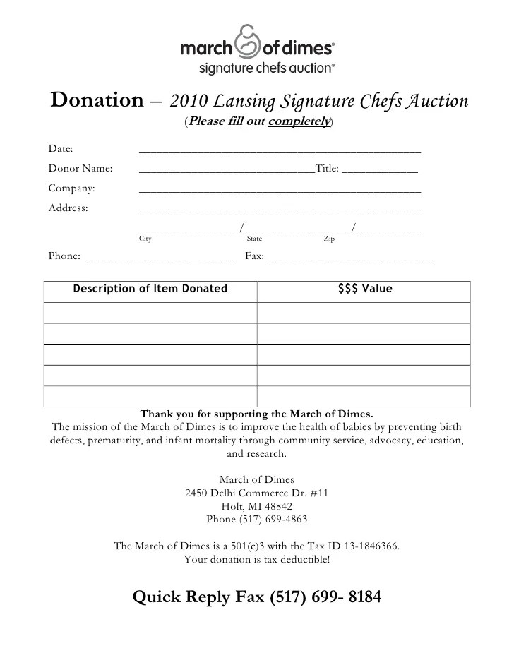 silent auction donation form - Ozilalmanoof - donation form templates