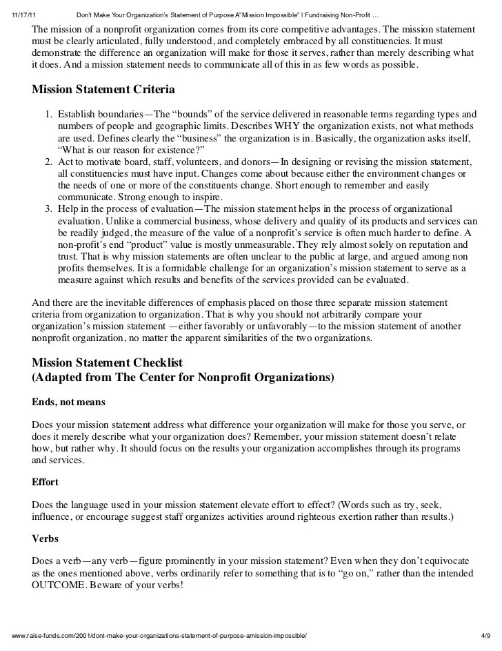 Good and bad nonprofit mission statements chart t