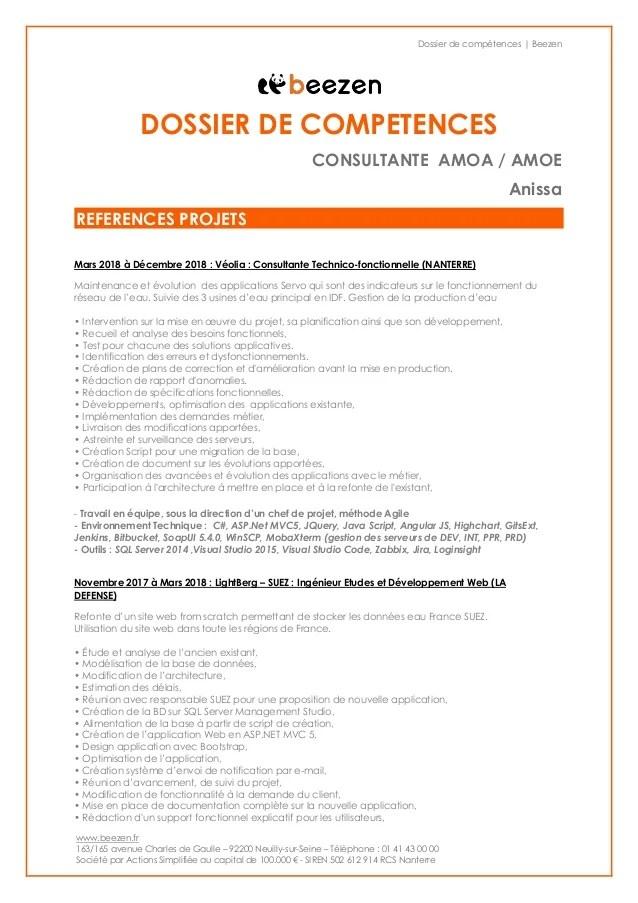 dossier de competences cv