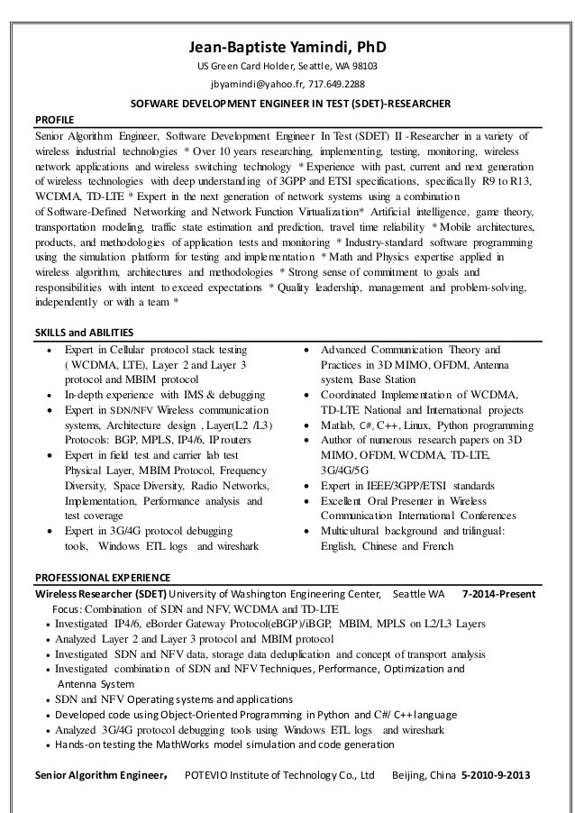 phd holder resume sample