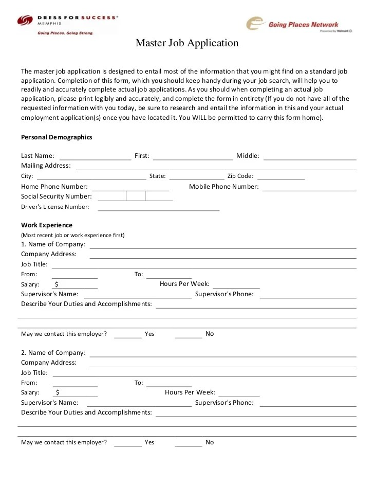 50 Free Employment Job Application Form Templates Dress For Success Memphis Career Center Master Job Application