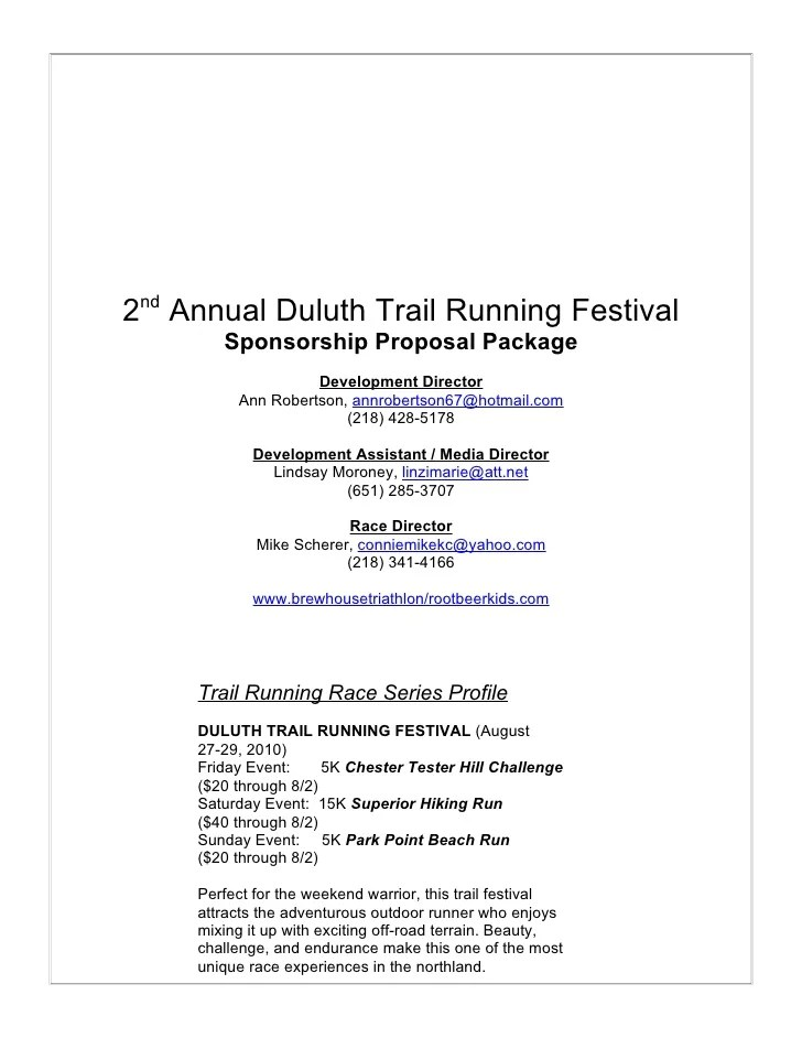 How To Write A Letter Requesting Sponsorship With Sample Duluth Trail Fest Sponsorship Proposal