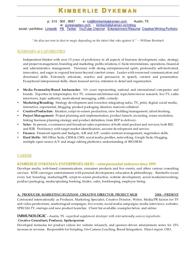 executive producer resume - Ozilalmanoof - executive producer sample resume