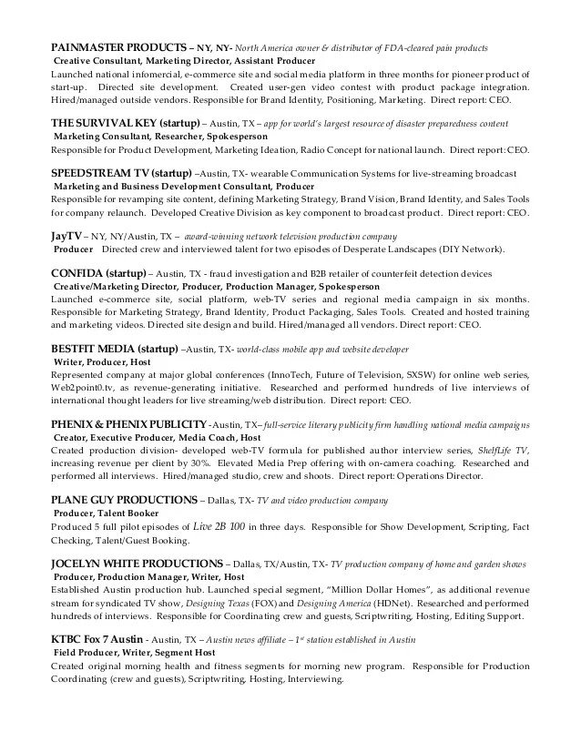 tv producer resume - Towerssconstruction