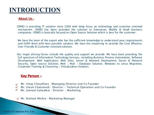 Sample Of Construction Company Profile Format | Internship Resume