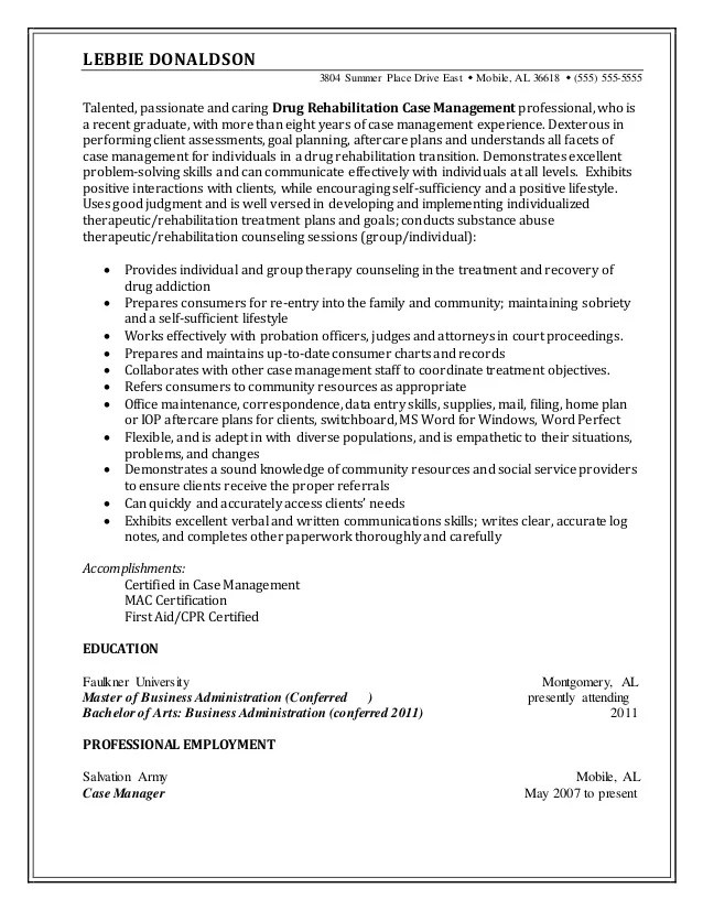 certified case manager resume - Onwebioinnovate