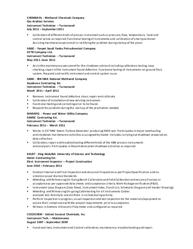 Click Here To Download This Instrumentation Technician Resume Pinterest