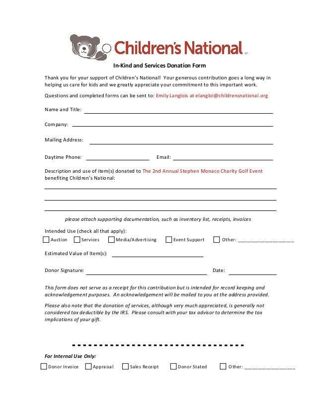 donation invoice template