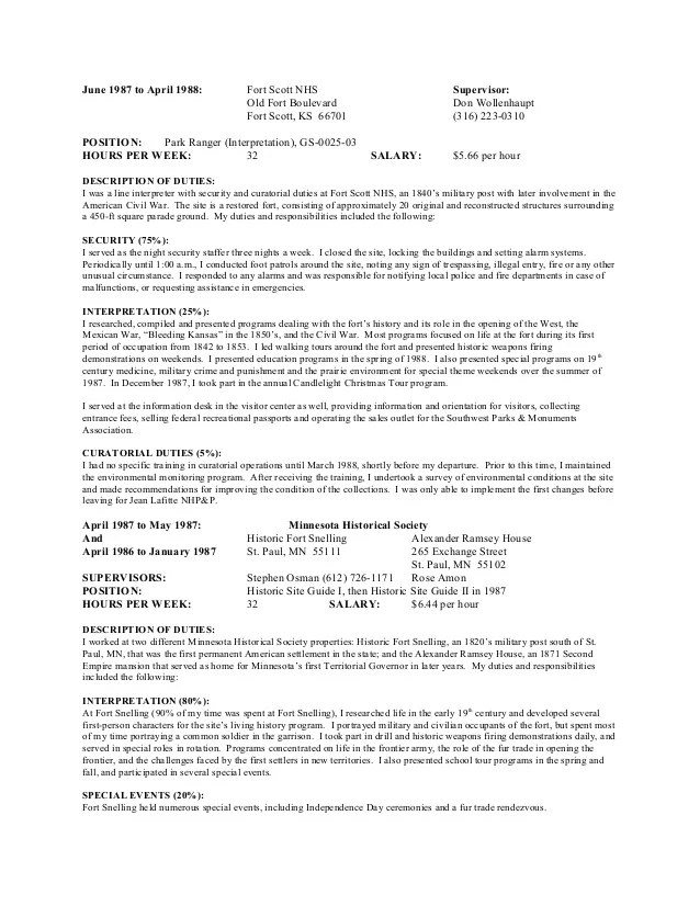 park ranger resume - Goalgoodwinmetals - biosafety officer sample resume