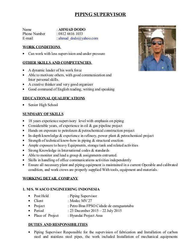piping supervisor resume - Ozilalmanoof - piping supervisor resume