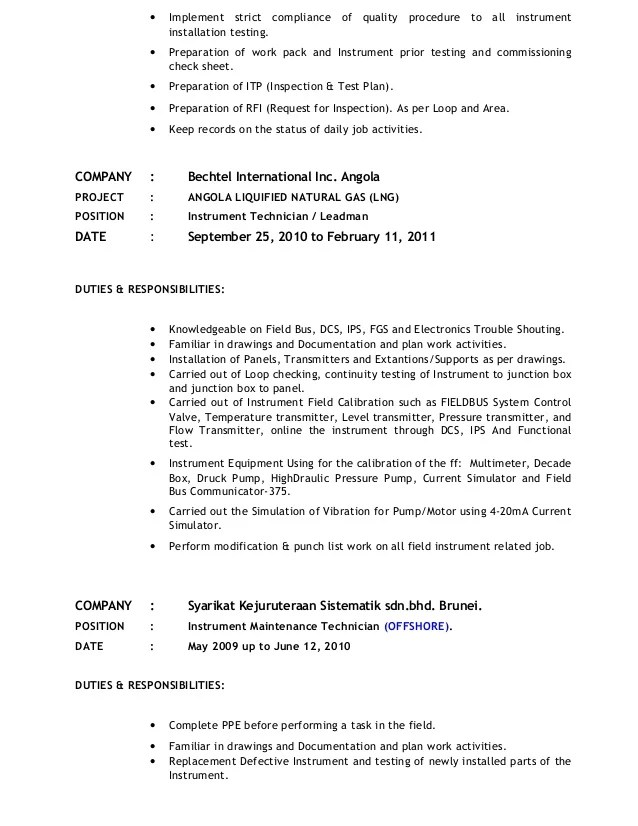 Resume Instrument Technician Images - resume format examples 2018