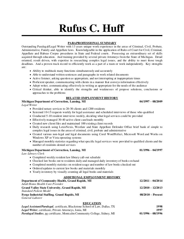 examples of legal resumes - Paralegal Resume Samples