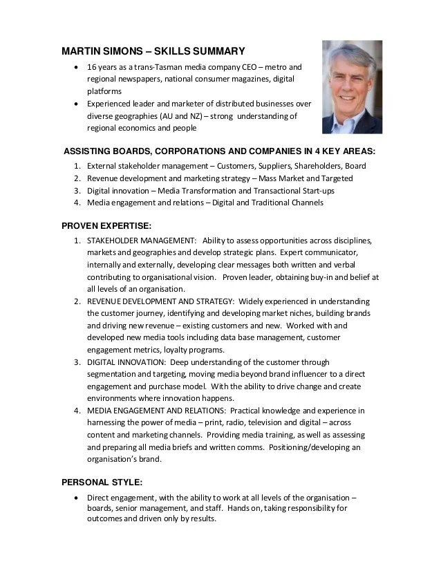 ceo cv sample