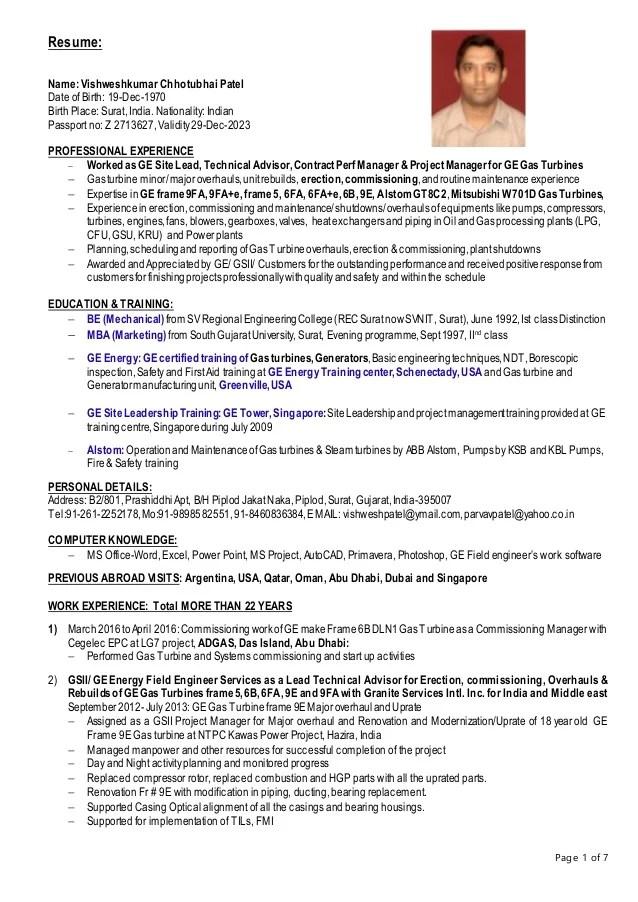 ge resume sample