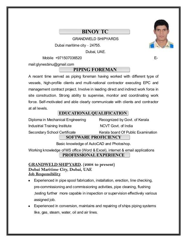piping supervisor resume - Muck.greenidesign.co