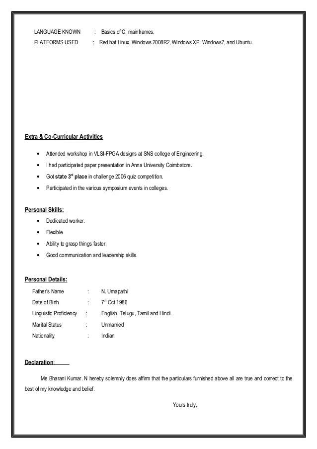 linux basics resume