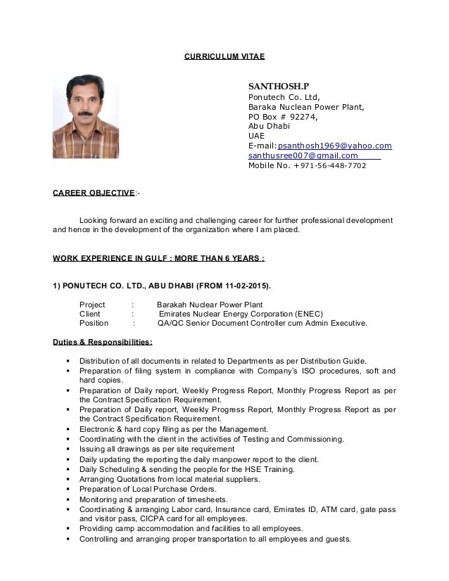 448 Document Controller Jobs Linkedin Cv Of Qa Qc Senior Document Controller Cum Admin Executive