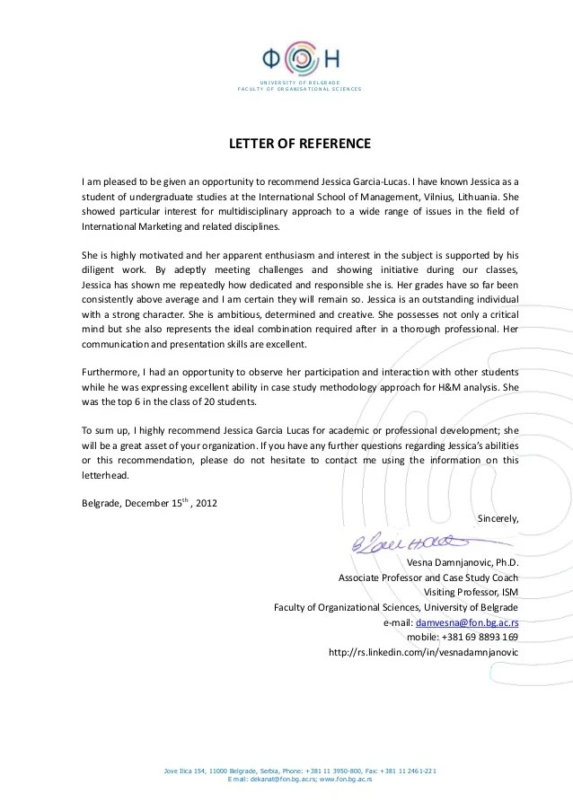 recommendation letter for student from professor - Mersnproforum