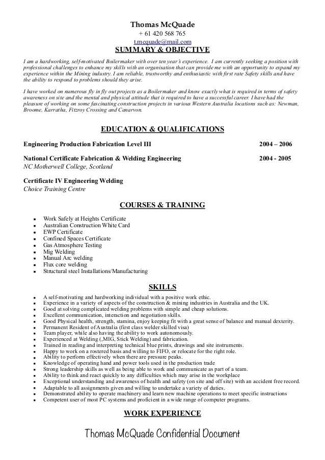boilermaker resume - Bire1andwap - boilermaker welder sample resume