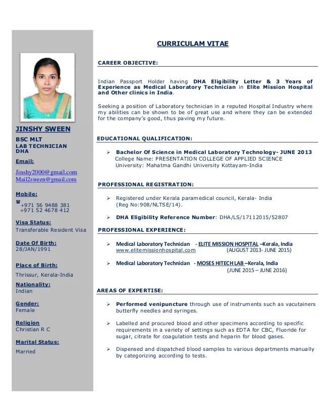 resume for medical laboratory technician - Josemulinohouse
