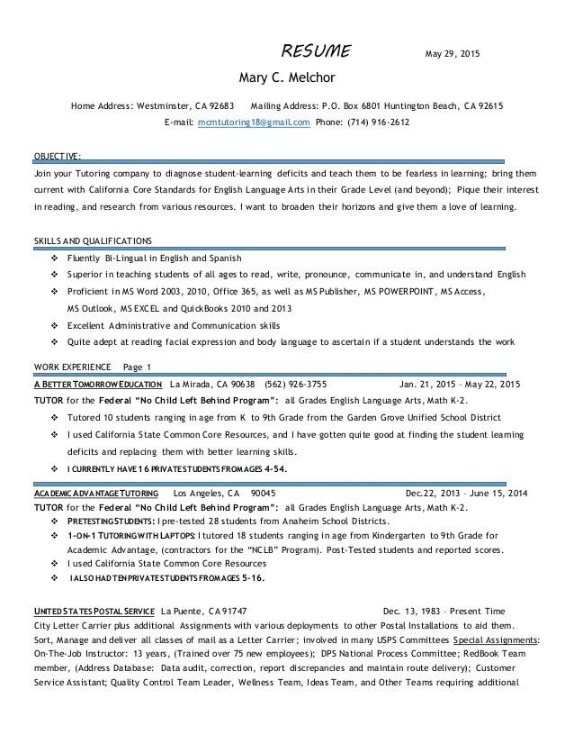Jobstar Resume Guide Sample Resumes Cover Letter Tutoring Resume 5 29 2015