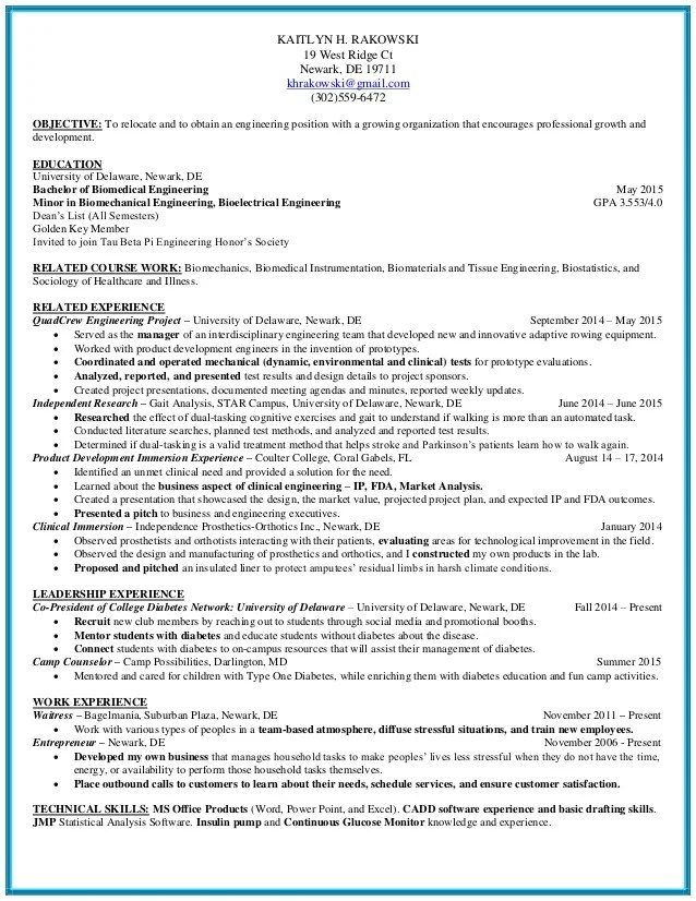 biomedical engineering resume - Funfpandroid - biomedical engineering manager sample resume
